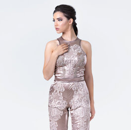 """Petals and petals"" embroidered jumpsuit"