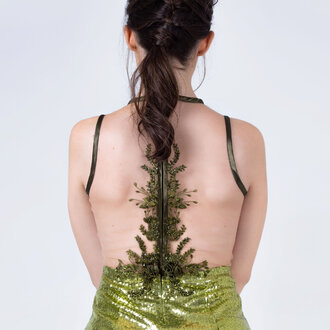 """Plants of shadow"" slim dress"