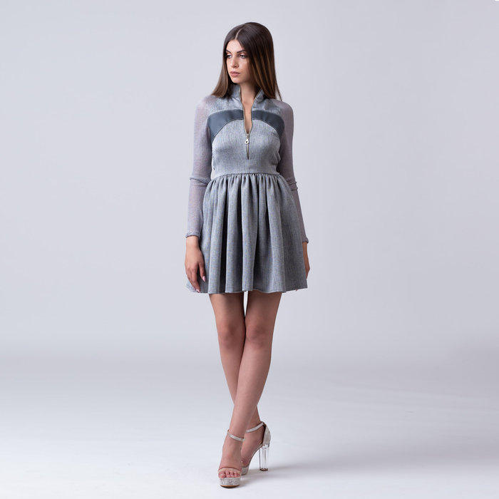 """Textures"" colorless casual dress"